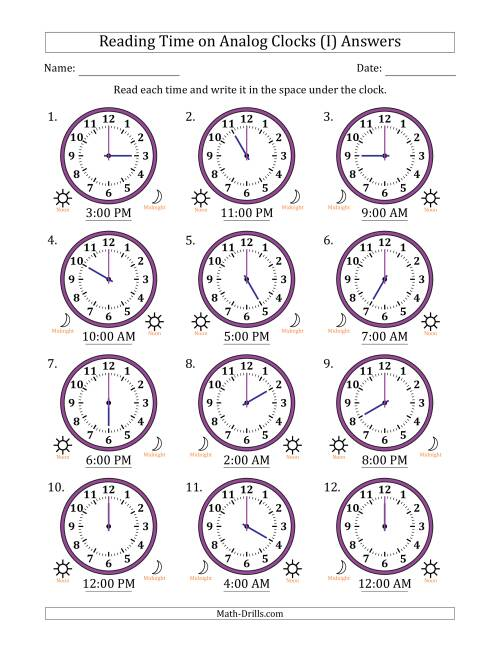 The Reading Time on 12 Hour Analog Clocks in One Hour Intervals (I) Math Worksheet Page 2