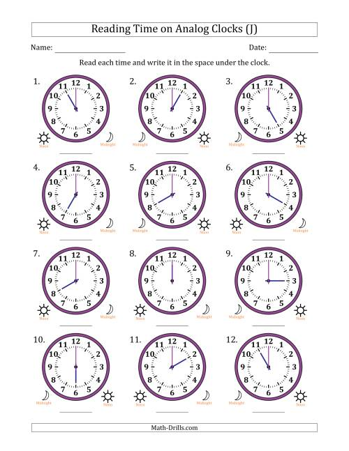 The Reading Time on 12 Hour Analog Clocks in One Hour Intervals (J) Math Worksheet