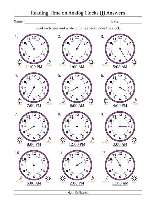 The Reading Time on 12 Hour Analog Clocks in One Hour Intervals (J) Math Worksheet Page 2
