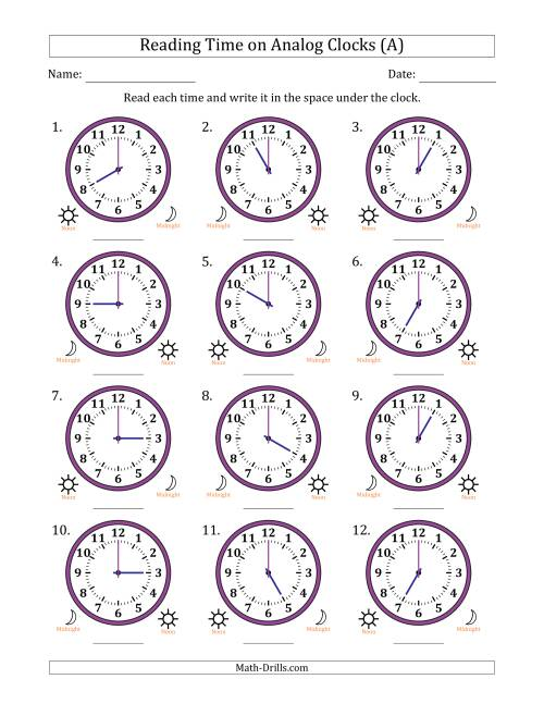 The Reading Time on 12 Hour Analog Clocks in One Hour Intervals (All) Math Worksheet
