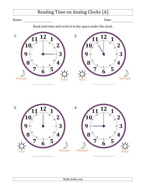 The Reading Time on 12 Hour Analog Clocks in One Hour Intervals (Large Clocks) (A)