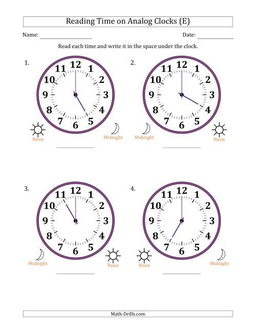 The Reading Time on 12 Hour Analog Clocks in One Hour Intervals (Large Clocks) (E) Math Worksheet