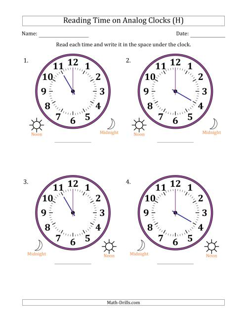 The Reading Time on 12 Hour Analog Clocks in One Hour Intervals (Large Clocks) (H) Math Worksheet