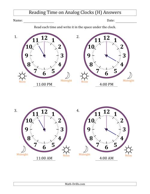The Reading Time on 12 Hour Analog Clocks in One Hour Intervals (Large Clocks) (H) Math Worksheet Page 2