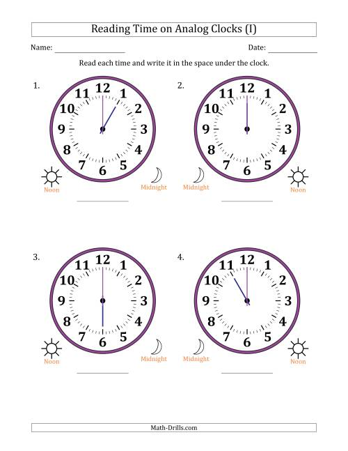 The Reading 12 Hour Time on Analog Clocks in One Hour Intervals (4 Large Clocks) (I) Math Worksheet