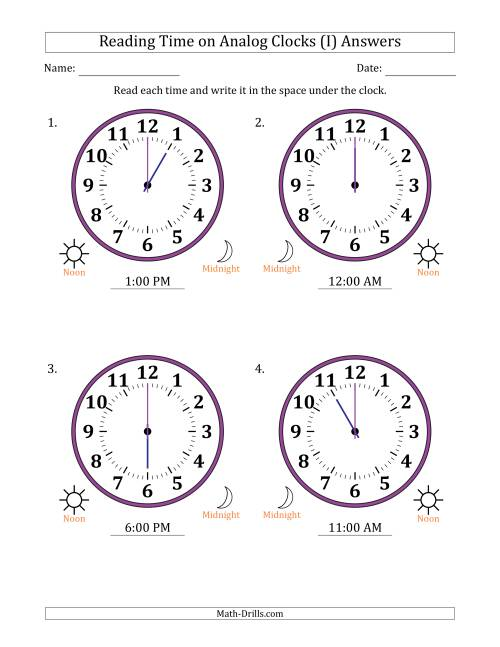 The Reading Time on 12 Hour Analog Clocks in One Hour Intervals (Large Clocks) (I) Math Worksheet Page 2