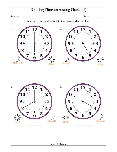 The Reading Time on 12 Hour Analog Clocks in One Hour Intervals (Large Clocks) (J) Math Worksheet