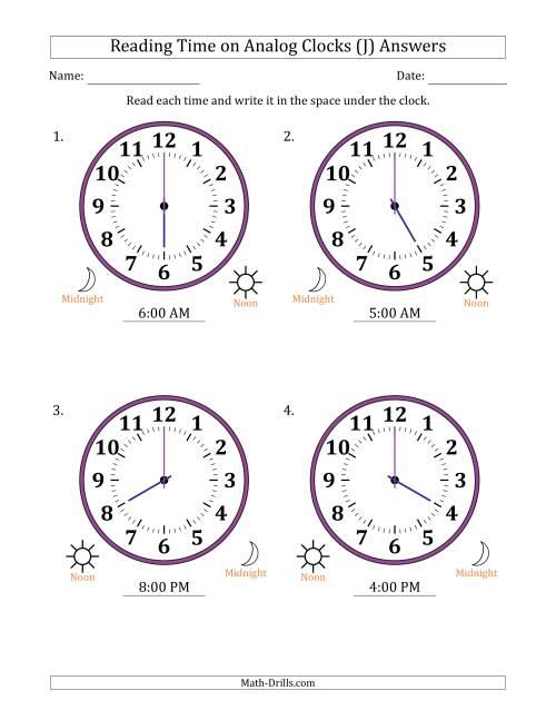 The Reading Time on 12 Hour Analog Clocks in One Hour Intervals (Large Clocks) (J) Math Worksheet Page 2