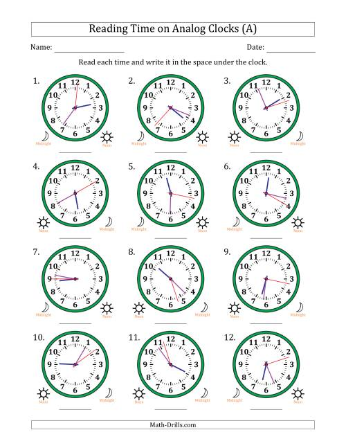 The Reading 12 Hour Time on Analog Clocks in 1 Second Intervals (12 Clocks) (A) Math Worksheet