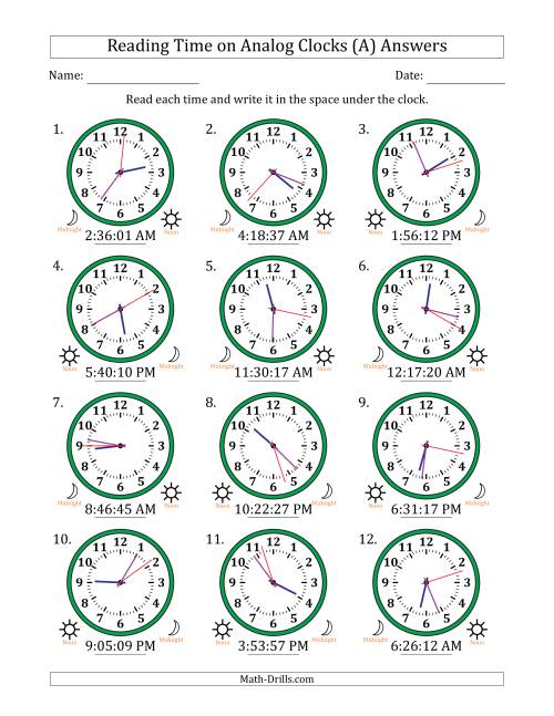 The Reading Time on 12 Hour Analog Clocks in 1 Second Intervals (A) Math Worksheet Page 2