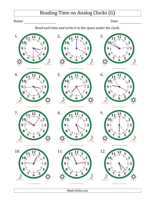 Reading Time on 12 Hour Analog Clocks in 1 Second