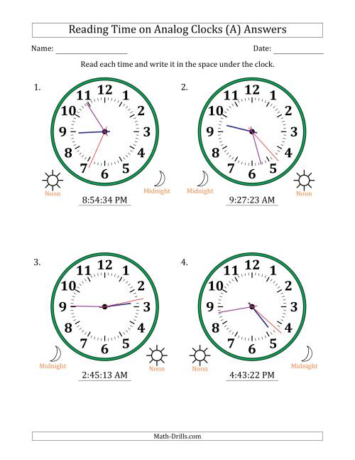 The Reading Time on 12 Hour Analog Clocks in 1 Second Intervals (Large Clocks) (A) Math Worksheet Page 2