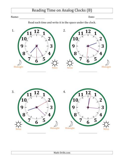 The Reading Time on 12 Hour Analog Clocks in 1 Second Intervals (Large Clocks) (B) Math Worksheet
