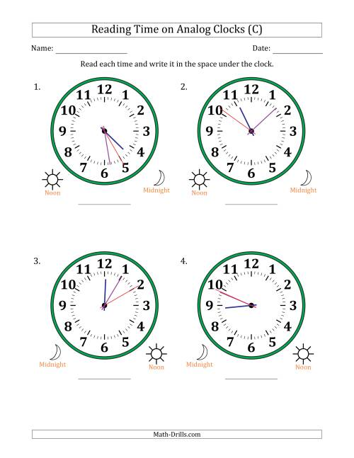 The Reading Time on 12 Hour Analog Clocks in 1 Second Intervals (Large Clocks) (C) Math Worksheet