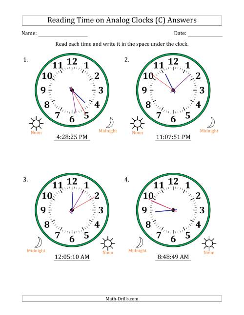 The Reading Time on 12 Hour Analog Clocks in 1 Second Intervals (Large Clocks) (C) Math Worksheet Page 2