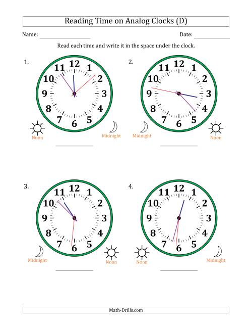 The Reading Time on 12 Hour Analog Clocks in 1 Second Intervals (Large Clocks) (D) Math Worksheet