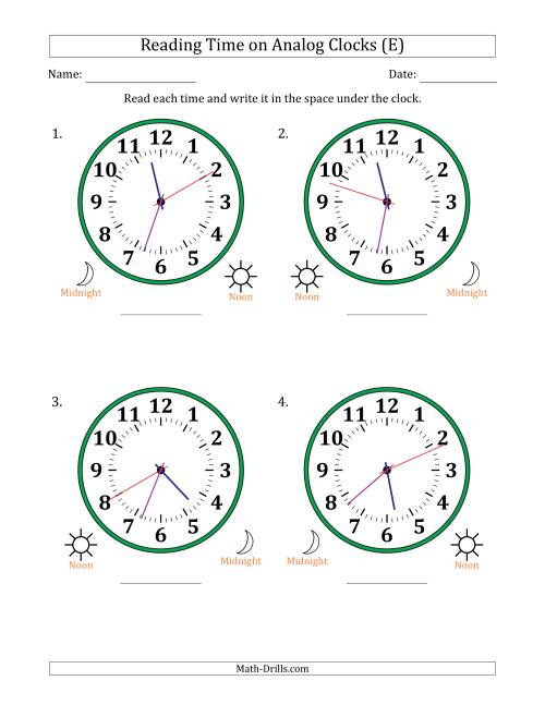 The Reading 12 Hour Time on Analog Clocks in 1 Second Intervals (4 Large Clocks) (E) Math Worksheet