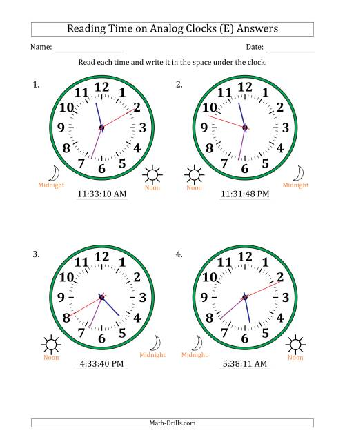 The Reading 12 Hour Time on Analog Clocks in 1 Second Intervals (4 Large Clocks) (E) Math Worksheet Page 2
