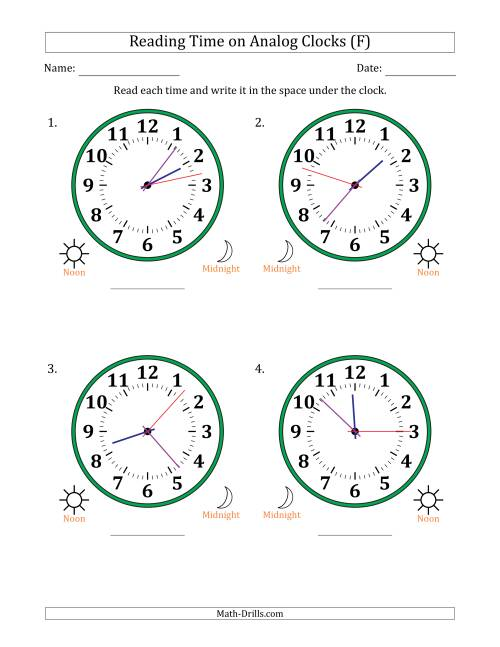 The Reading Time on 12 Hour Analog Clocks in 1 Second Intervals (Large Clocks) (F) Math Worksheet
