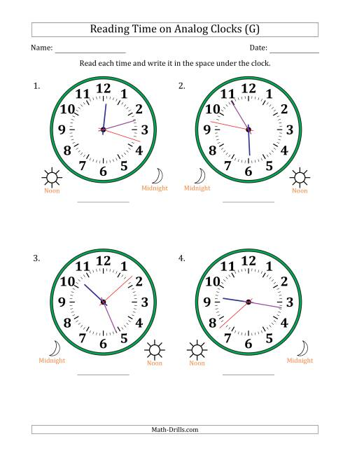 The Reading Time on 12 Hour Analog Clocks in 1 Second Intervals (Large Clocks) (G) Math Worksheet
