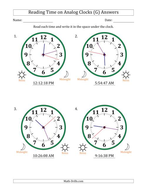 The Reading Time on 12 Hour Analog Clocks in 1 Second Intervals (Large Clocks) (G) Math Worksheet Page 2