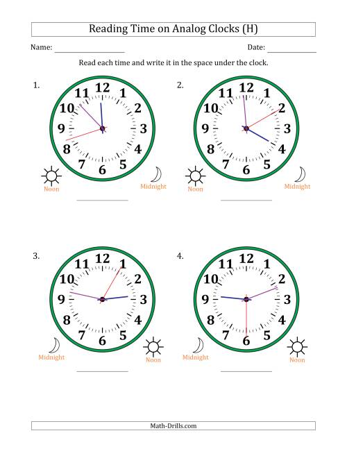 The Reading Time on 12 Hour Analog Clocks in 1 Second Intervals (Large Clocks) (H) Math Worksheet