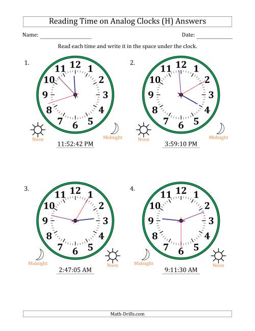 The Reading Time on 12 Hour Analog Clocks in 1 Second Intervals (Large Clocks) (H) Math Worksheet Page 2