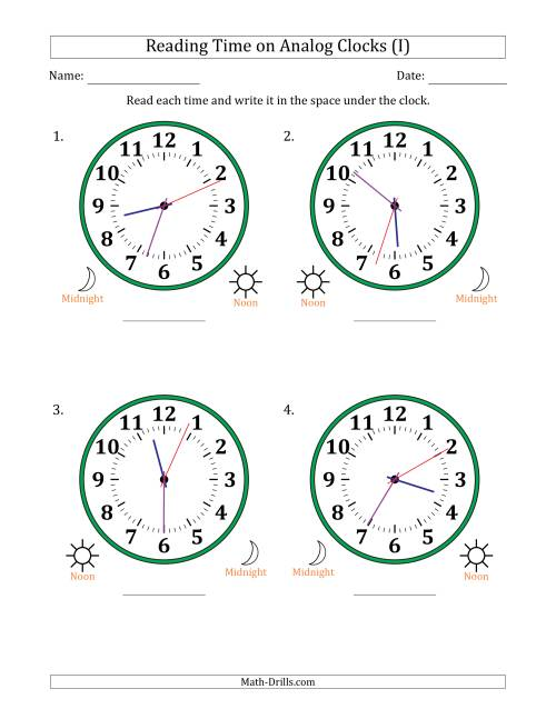 The Reading Time on 12 Hour Analog Clocks in 1 Second Intervals (Large Clocks) (I) Math Worksheet