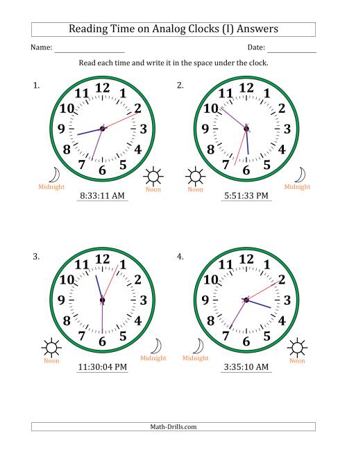 The Reading Time on 12 Hour Analog Clocks in 1 Second Intervals (Large Clocks) (I) Math Worksheet Page 2