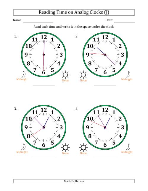The Reading 12 Hour Time on Analog Clocks in 1 Second Intervals (4 Large Clocks) (J) Math Worksheet