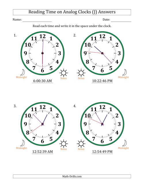 The Reading Time on 12 Hour Analog Clocks in 1 Second Intervals (Large Clocks) (J) Math Worksheet Page 2