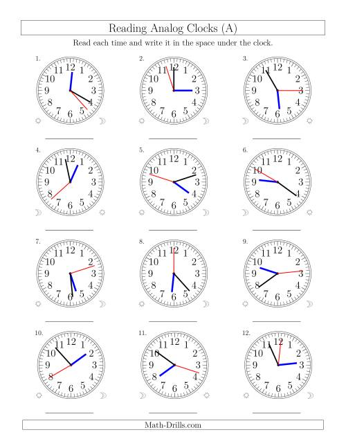 The Reading Time on 12 Hour Analog Clocks in 1 Second Intervals (Old) Math Worksheet