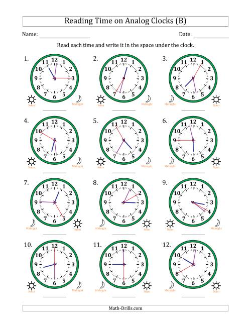 The Reading Time on 12 Hour Analog Clocks in 5 Second Intervals (B) Math Worksheet