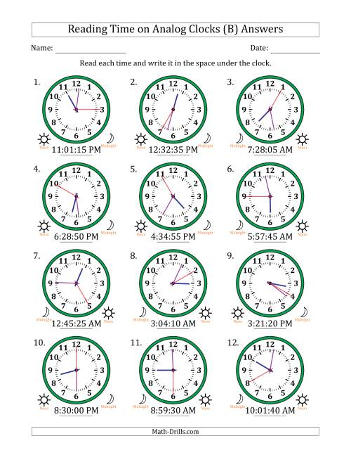 The Reading Time on 12 Hour Analog Clocks in 5 Second Intervals (B) Math Worksheet Page 2