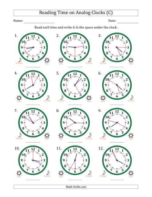 The Reading Time on 12 Hour Analog Clocks in 5 Second Intervals (C) Math Worksheet