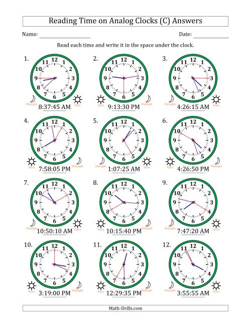 The Reading Time on 12 Hour Analog Clocks in 5 Second Intervals (C) Math Worksheet Page 2
