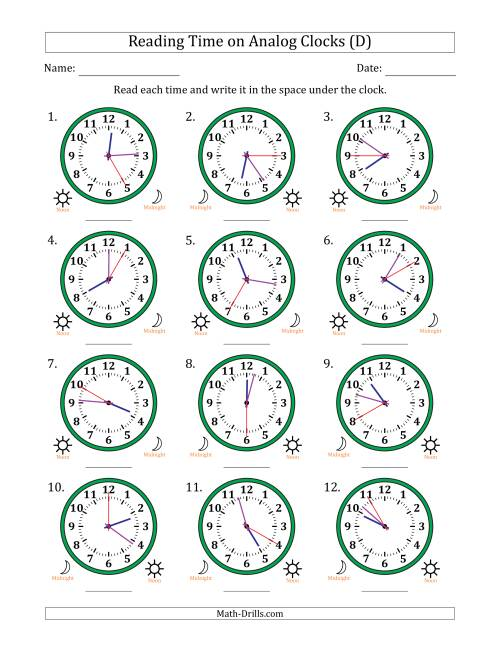 The Reading 12 Hour Time on Analog Clocks in 5 Second Intervals (12 Clocks) (D) Math Worksheet