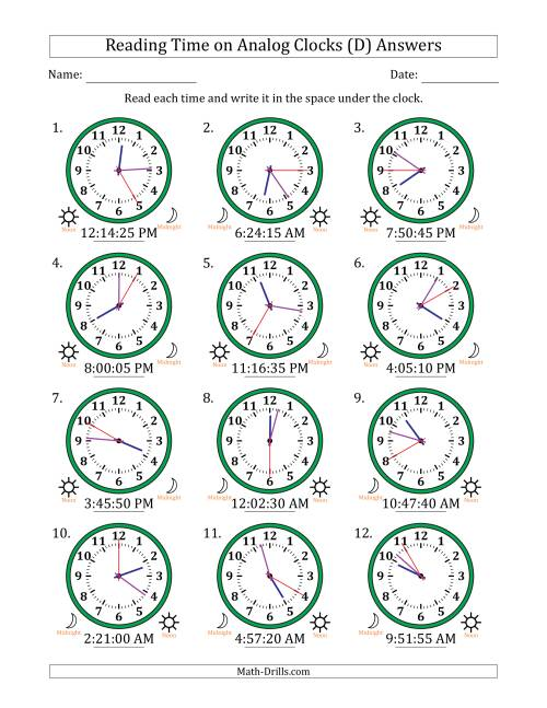 The Reading Time on 12 Hour Analog Clocks in 5 Second Intervals (D) Math Worksheet Page 2