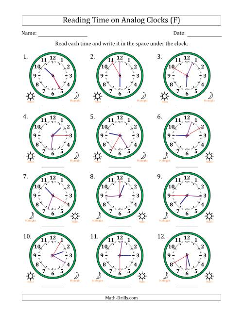 The Reading Time on 12 Hour Analog Clocks in 5 Second Intervals (F) Math Worksheet