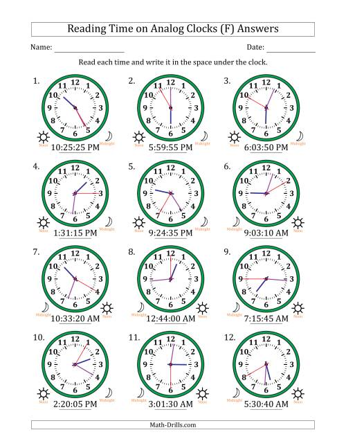 The Reading Time on 12 Hour Analog Clocks in 5 Second Intervals (F) Math Worksheet Page 2