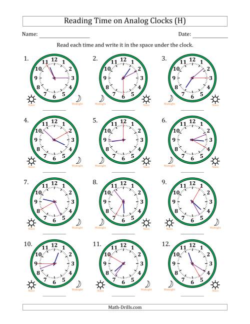The Reading Time on 12 Hour Analog Clocks in 5 Second Intervals (H) Math Worksheet