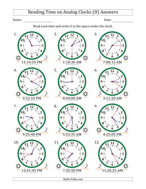 The Reading Time on 12 Hour Analog Clocks in 5 Second Intervals (H) Math Worksheet Page 2