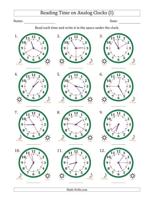The Reading Time on 12 Hour Analog Clocks in 5 Second Intervals (I) Math Worksheet