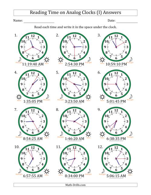 The Reading Time on 12 Hour Analog Clocks in 5 Second Intervals (I) Math Worksheet Page 2