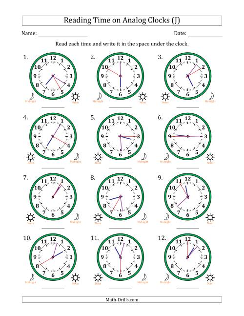 The Reading Time on 12 Hour Analog Clocks in 5 Second Intervals (J) Math Worksheet