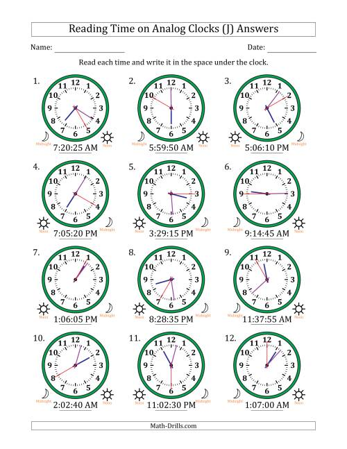 The Reading Time on 12 Hour Analog Clocks in 5 Second Intervals (J) Math Worksheet Page 2