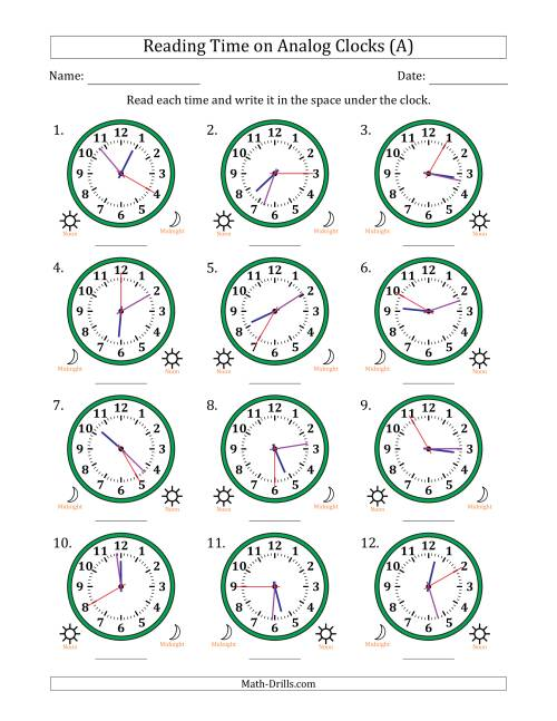 The Reading Time on 12 Hour Analog Clocks in 5 Second Intervals (All) Math Worksheet
