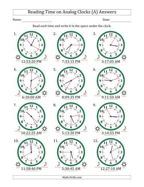 The Reading Time on 12 Hour Analog Clocks in 5 Second Intervals (All) Math Worksheet Page 2
