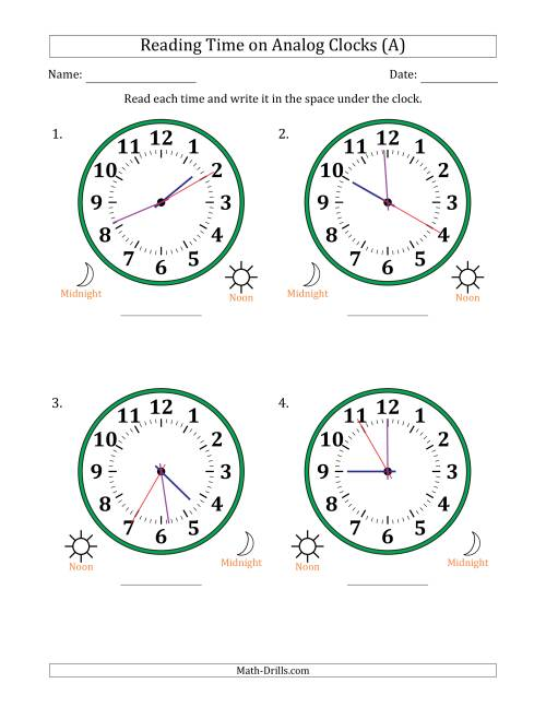 The Reading 12 Hour Time on Analog Clocks in 5 Second Intervals (4 Large Clocks) (A) Math Worksheet