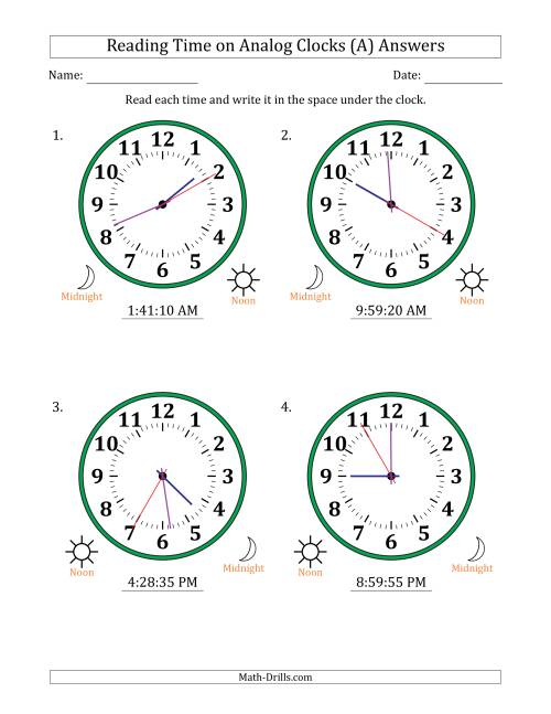 The Reading 12 Hour Time on Analog Clocks in 5 Second Intervals (4 Large Clocks) (A) Math Worksheet Page 2